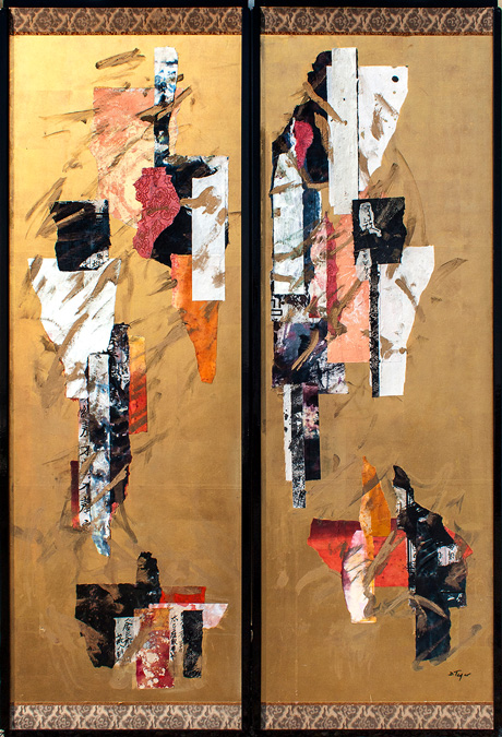 "Ancient Splendor 1, Antique Japanese Screen Collage,18.5 x 54"" - $1,200 (plus shipping) by Delma Tayer"