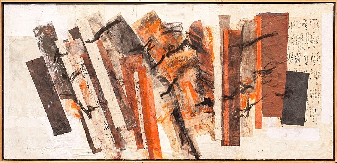Autumn WInds, collage, 35.5x73.5 by Delma Tayer
