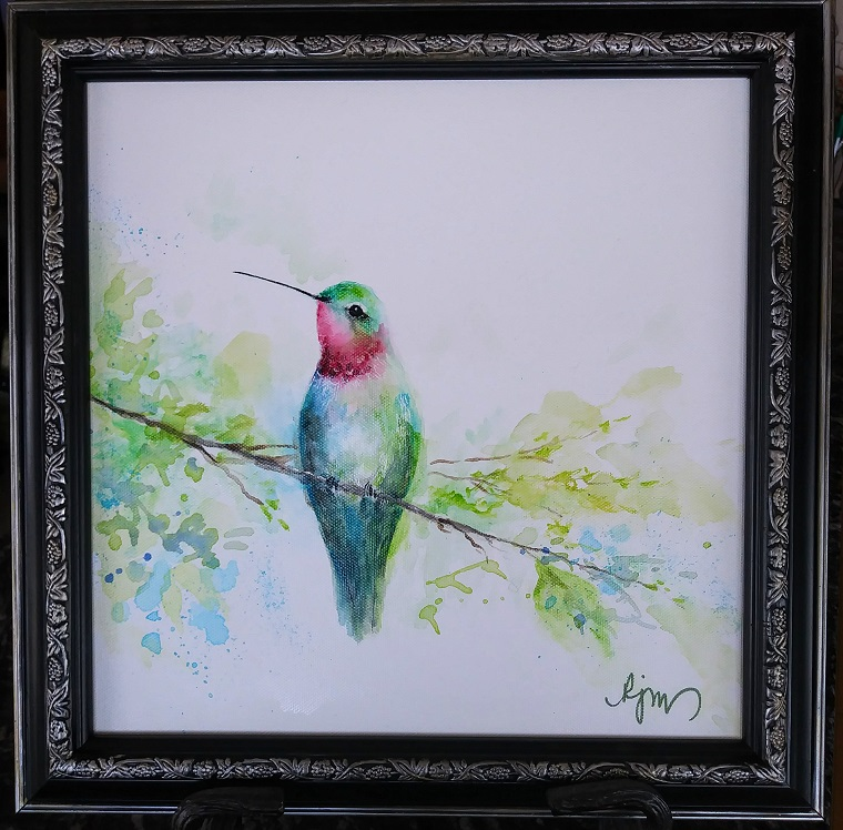 "Hummer, 15"" by 15"" framed - $140 by Becky Melcher"