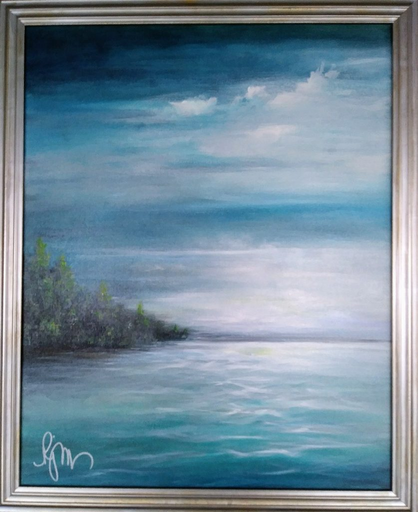 "Light on the Lake, 16"" by 20"" framed - $140"