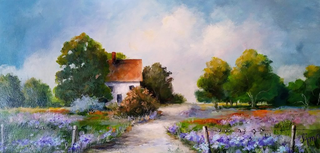 """On the Fence 10"""" by 20"""" - $150 by Becky Melcher"""