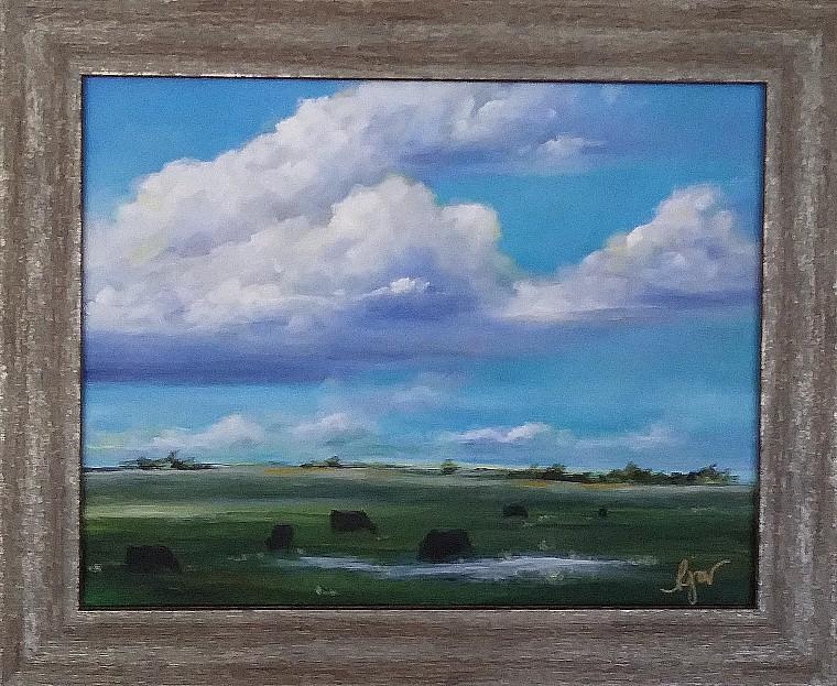 "Open Range 14"" by 17"" framed, Acrylic $100 (On display at Yakima Steak Company restaurant)"