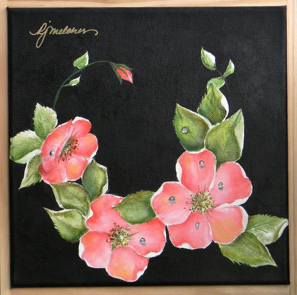 """Pink Wild Roses, 10"""" by 10"""" + Frame - $75"""