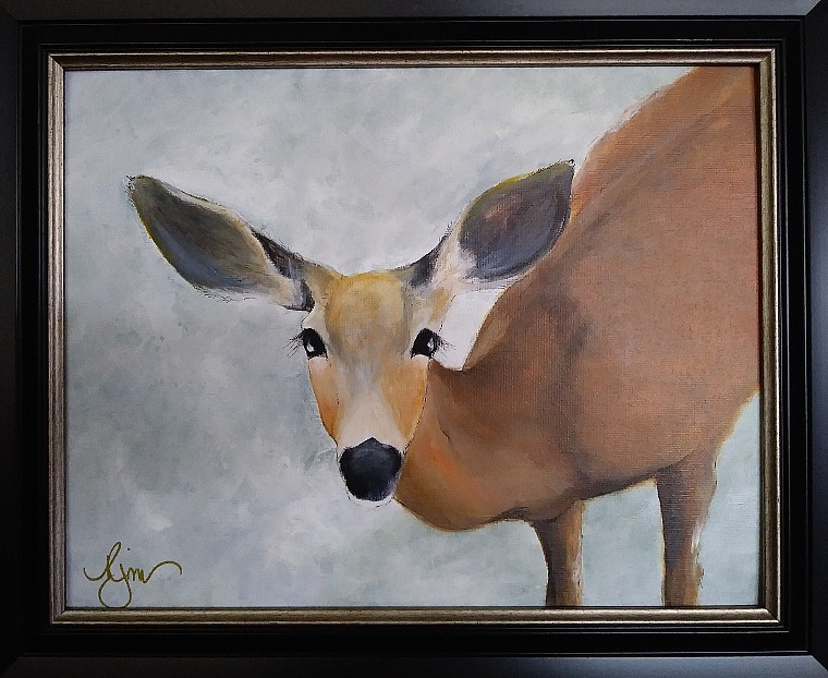 "Sunriver Doe 15"" by 18"" framed, Acrylic & Ink - $120"