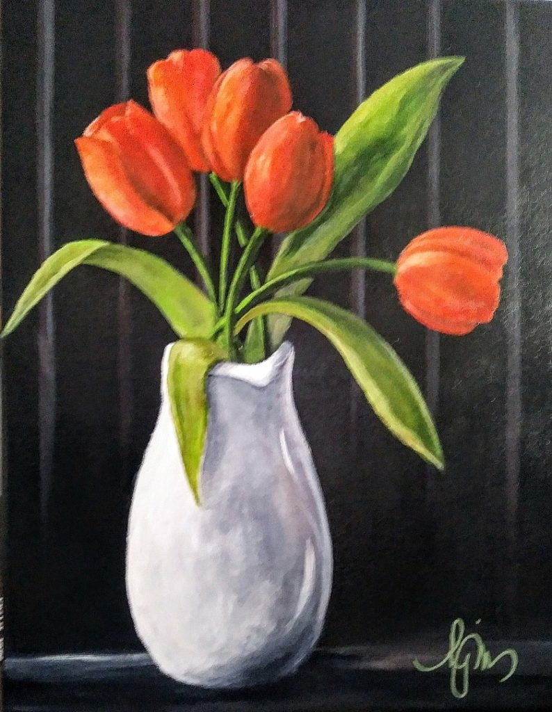 "Tulips in Pitcher, 14"" by 18"" - $150"