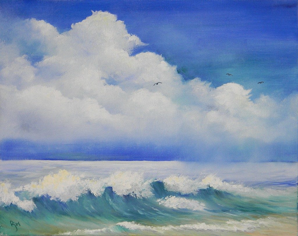 """Waves on the Beach, 20"""" by 16"""" - $135"""