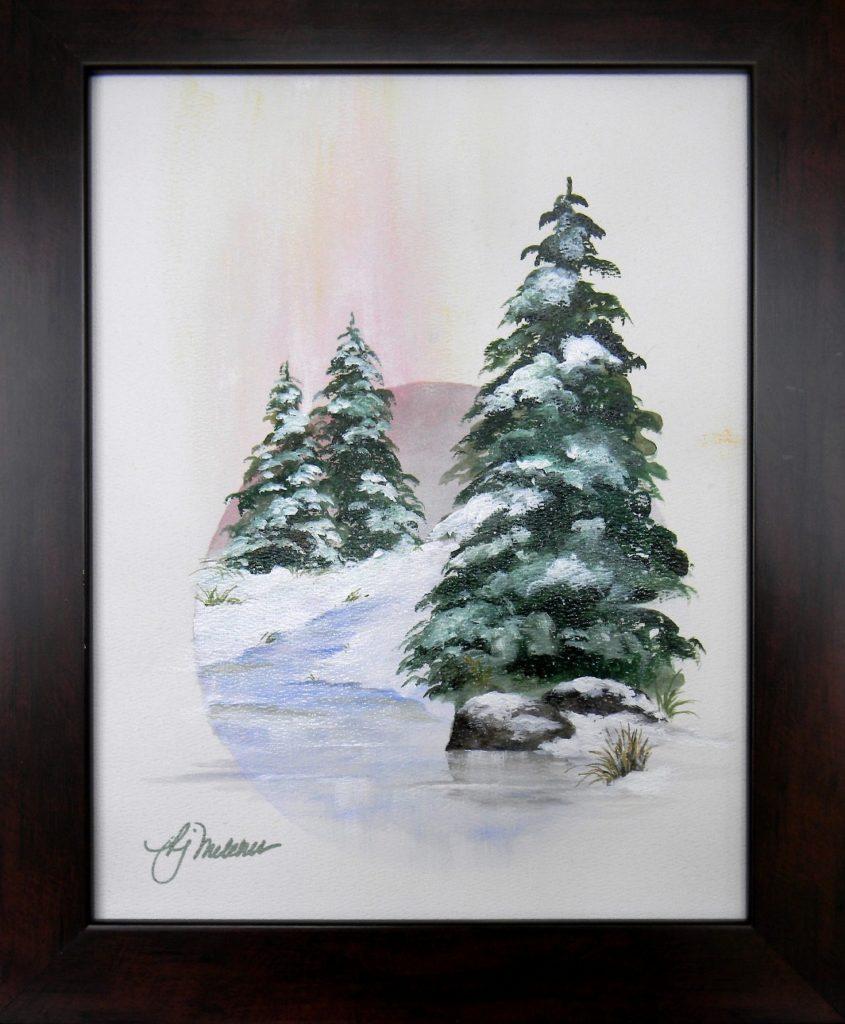 "Winter Light, 14"" by 11"" + Frame - $100"