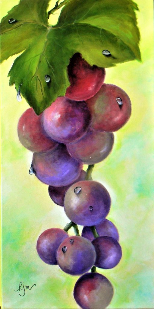 """Dewdrops on Grapes, 24"""" by 12"""" - $100"""