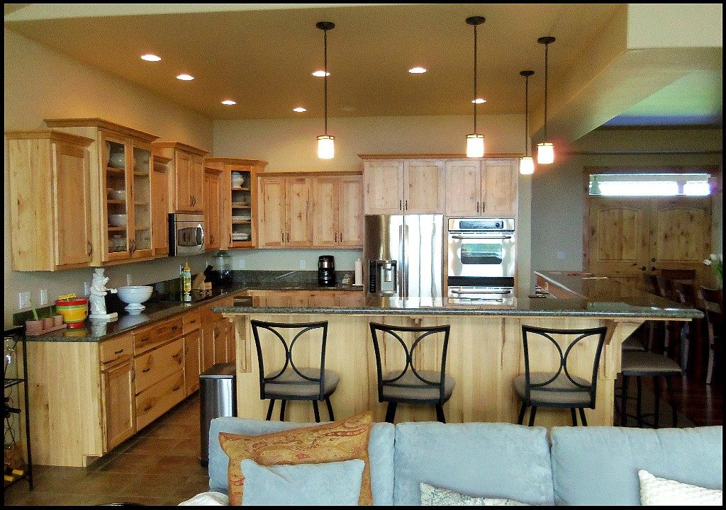 Custom hickory kitchen cabinets.
