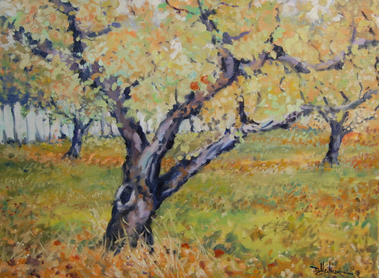 """Fall Orchard with a White Fence"" 18"" x 24"" $900"