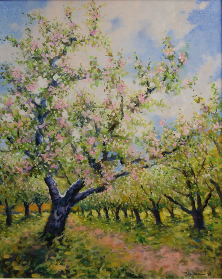 "Spring Day in Apple Orchard 24"" x 30"" $1,500 by Duane Heilman"