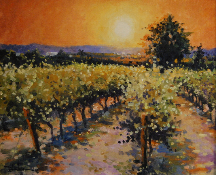 """Vineyard at Sunset"" 16"" x 20"" $650"