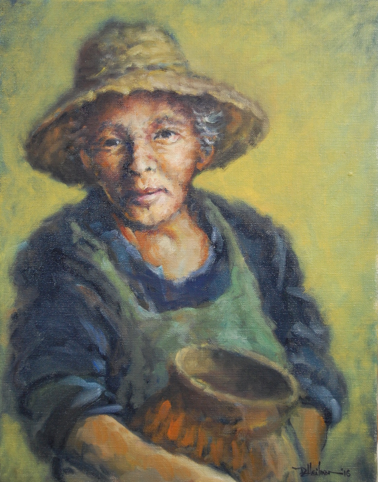 """Woman with a Clay Jar"" Oil on canvas - 14"" x 18"" $500"