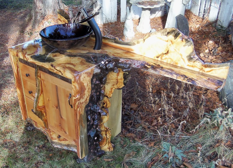 Bathroom Vanity using burl slabs from a Tamarack tree