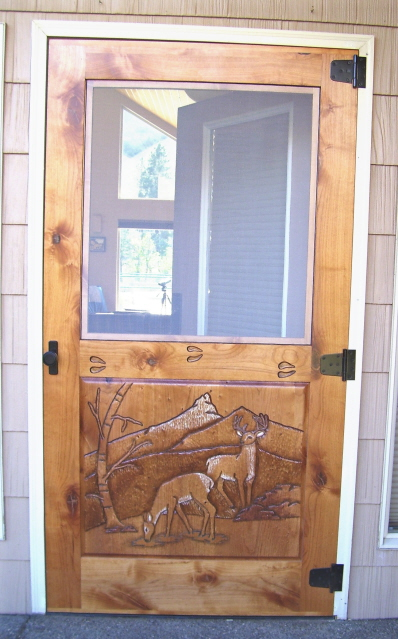 Carved Deer Screen Door, Alder wood