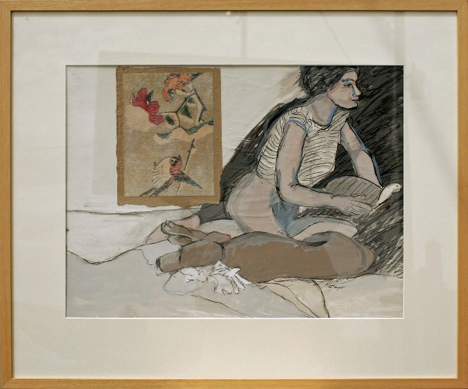 Girl With Turtle and Dog, 27 x 32. drawing & watercolor under glass, $500
