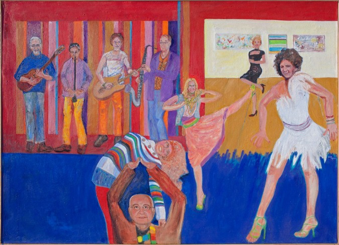 Leo Throws a Party, 56x80, $1800 by Delma Tayer