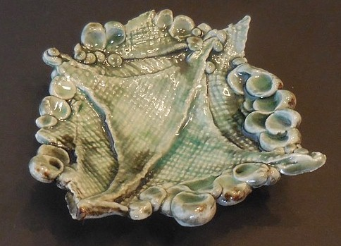 Small serving plate, green glaze