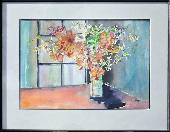 Orchids, watercolor, 21x27, $400 by Delma Tayer