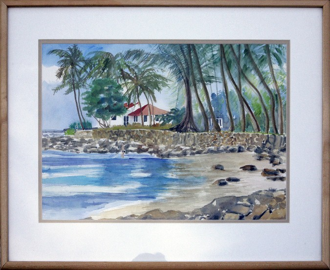 Poi Pu Beach, watercolor, 26x21, $350 by Delma Tayer