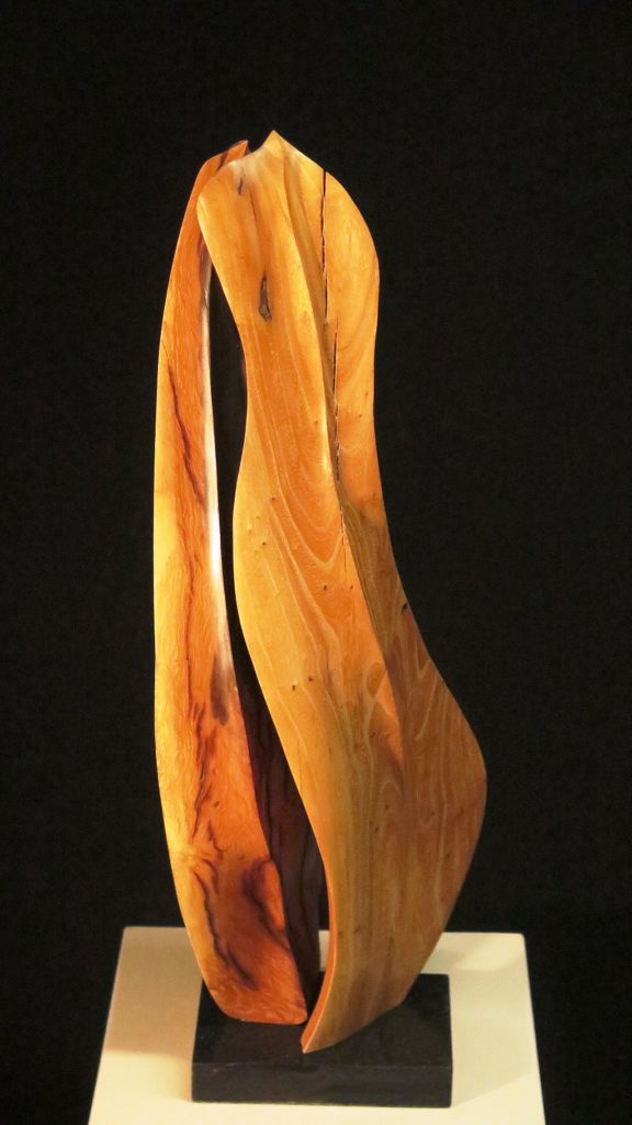 Private Conversation, 25x8x5, Elm on marble base.