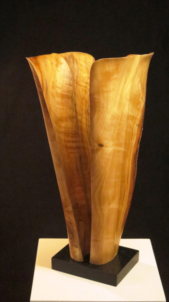 Split Vase, 11x7x5, Birch on marble base.