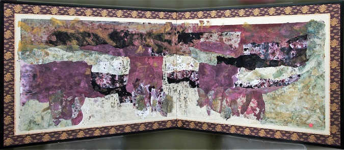 Royal Robes, Double Buffet-top Screen, Collage on Antique Screen, 28.5_ x 74_, $1200 by Delma Tayer