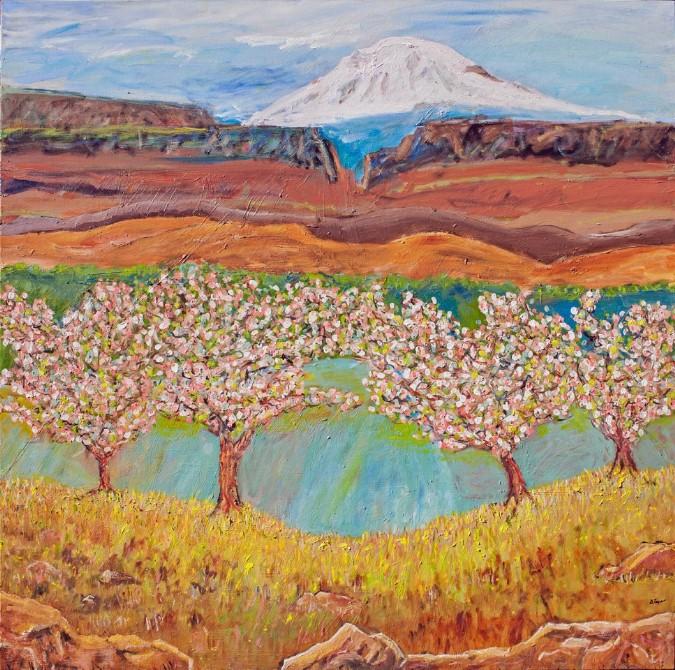 """Spring in Yakima, oil, 48 x 48"""" - $1800"""