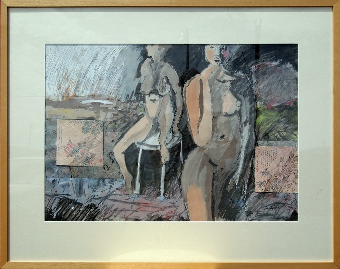 Two Women in Landscape, 28x36, drawing & watercolor under glass,$ 700