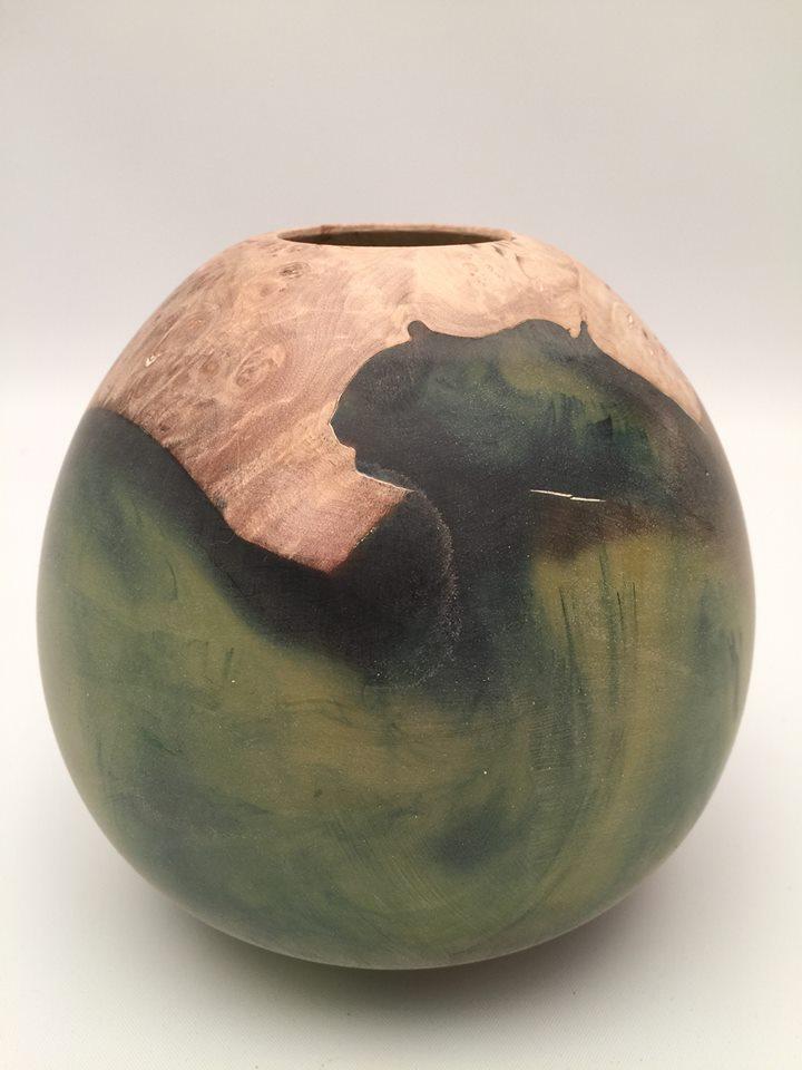 "Aluminite Vase - 5 1/2x6"" combination maple burl/resin lathe-turned and hollowed."