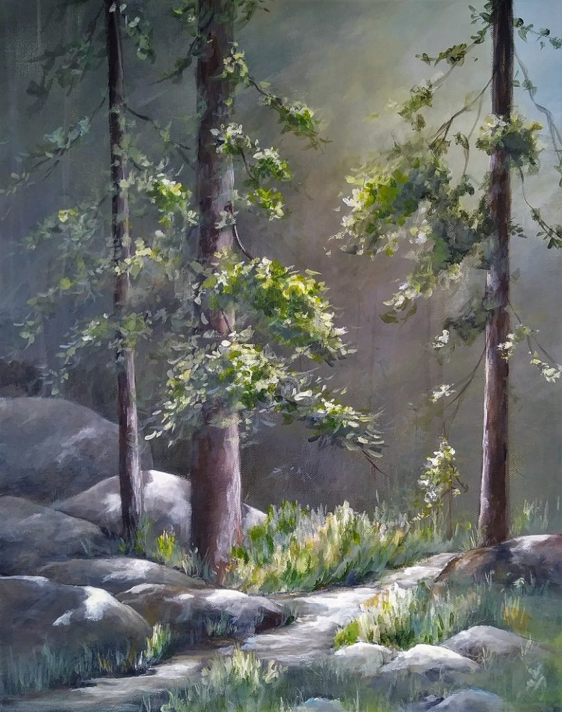 Forest Light 16 by 20 $165, framed