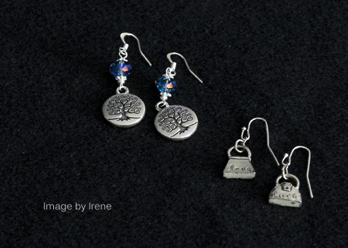 Left to Right -- Tree – base metal and crystal with silver plated ear wires. Purses – base metal with silver plated ear wires.
