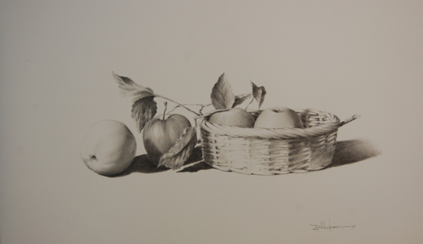 """Apples with a Wicker Basket"" Pencil - 14"" x 17"" $350"