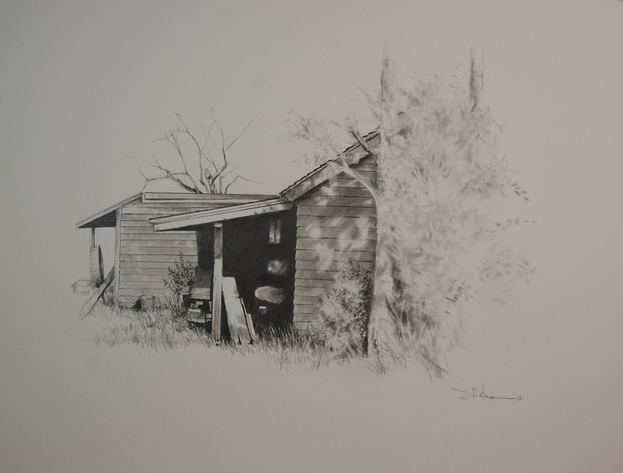 """Behind the Shed"" Pencil - 14"" x 17"" $350"