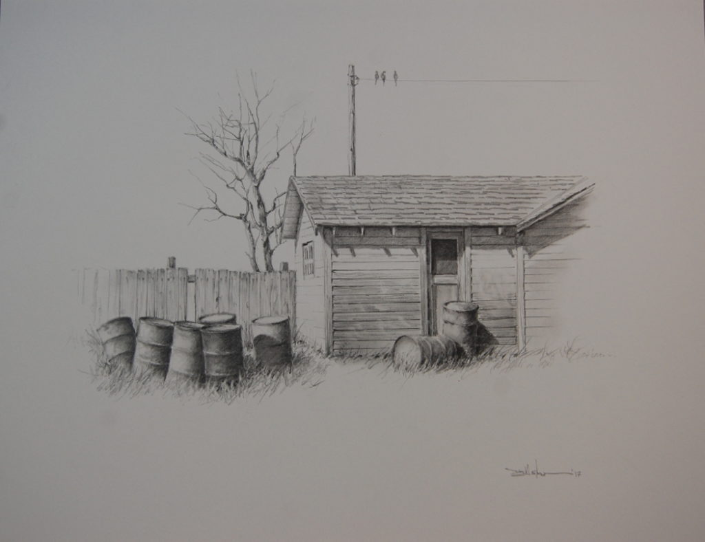 """Empty Barrels"" Pencil - 14"" x 17"" $350"