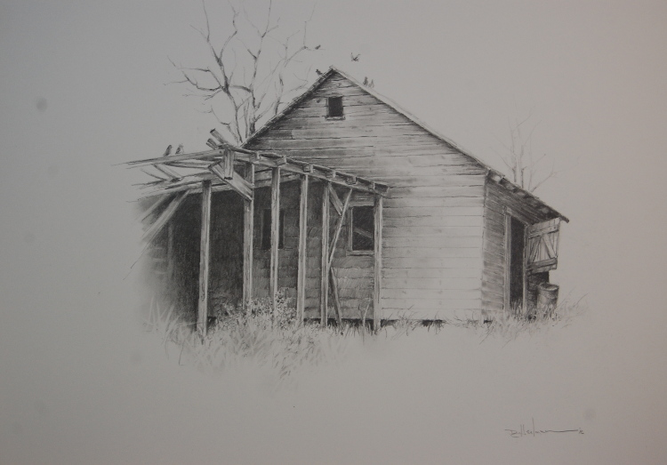 """Old Shed with Pigeons"" Pencil - 14"" x 17"" $350"