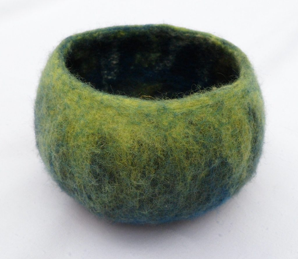 Little green bowl - Wet Felting class finished product.