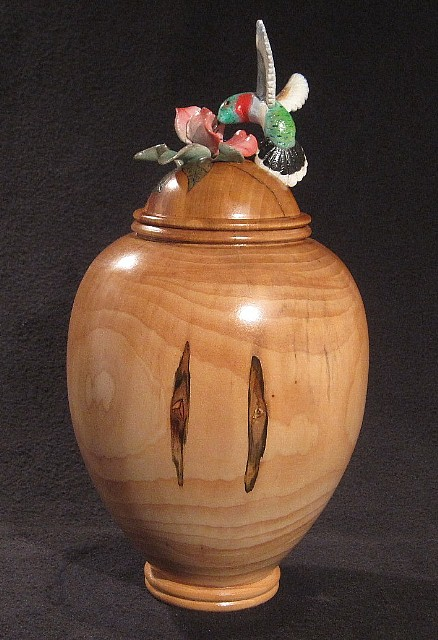 Hummingbird Vase - (Private collection, not for sale).  This piece features a hummingbird hovering over a pink Hibiscus.