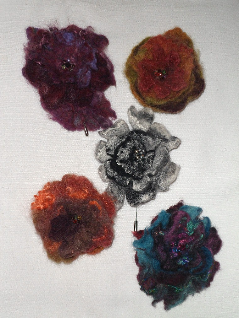 Merino Felted Pins - for hats, scarves, shawls or coat lapels.