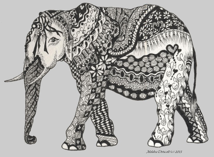 The Royal Elephant - Zentangle