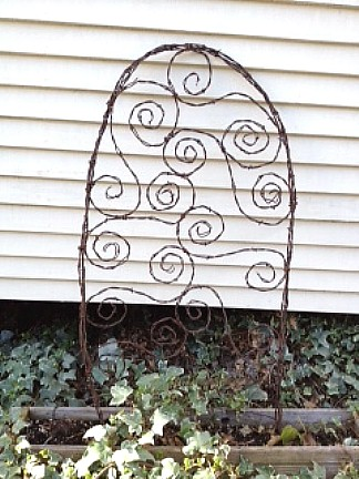 Swirly S Trellis - More Barbed wire with swirly S's to support even the smallest of plants.