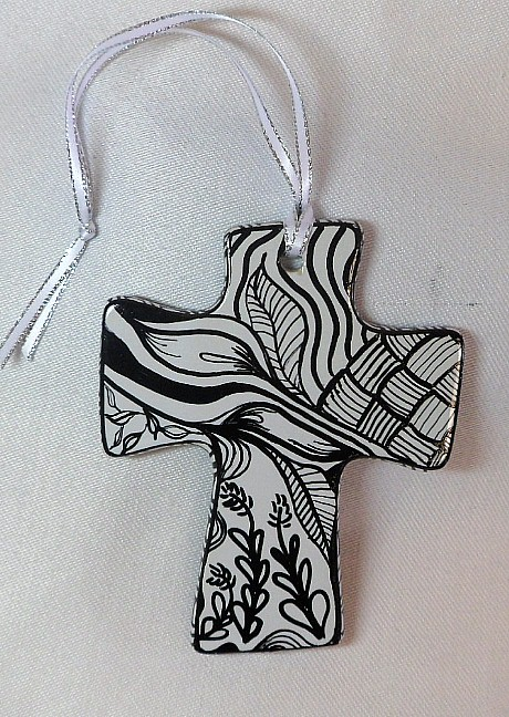 CR1325a - Double sided hand painted cross.