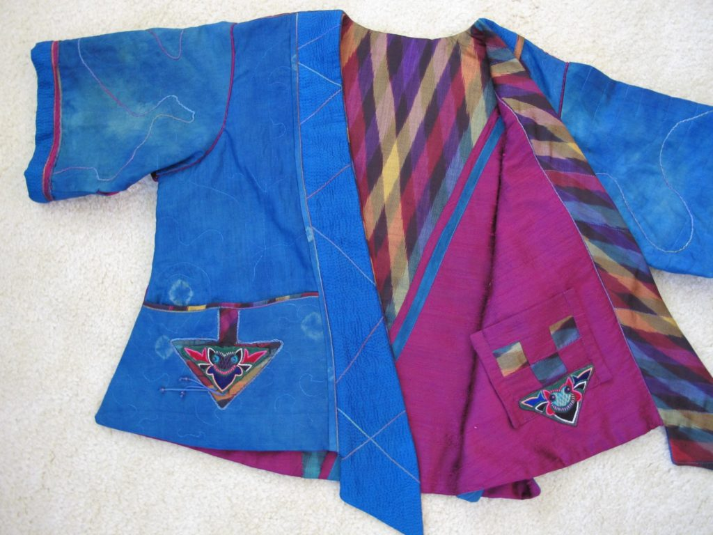 Wearable textile Art such as this Blue Shibori Jacket.