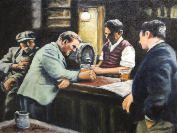 """British Pub Scene"" Oil on canvas - 18"" x 24"" Sorry, this one has sold!"
