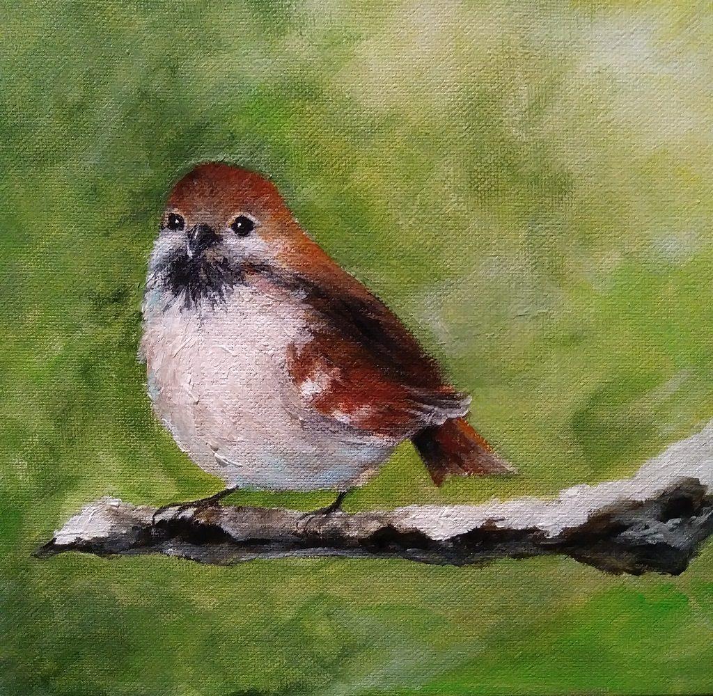 """Sparrow, 12"""" by14""""  $125.00 (framed)"""