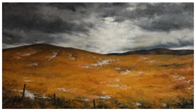 """Winter Sun Through Storm Clouds"" Oil - 20"" x 36"" $1500"