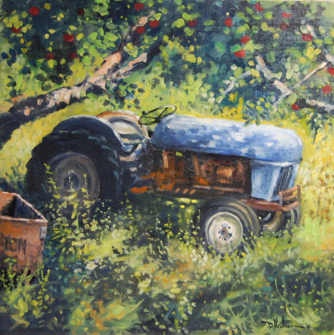 """Blue Tractor 24"""" x 24"""" $850"""