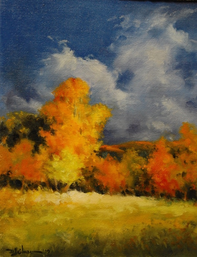 """""""Fall Trees at Sunset"""" Oil - 11"""" x 14"""" $250"""