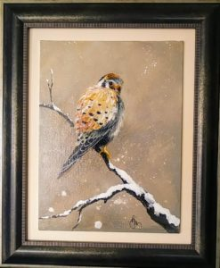 "American Kestrel II 11 by 14"",  framed - $175"