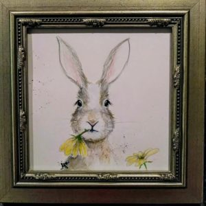 "Daisy Chomp 10 by 10"" - framed, $75"
